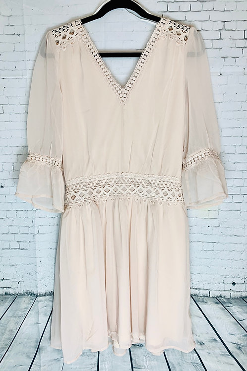 Nude/Tan Dress with Lace Detail