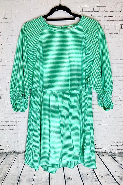 Green & White Gingham Dress