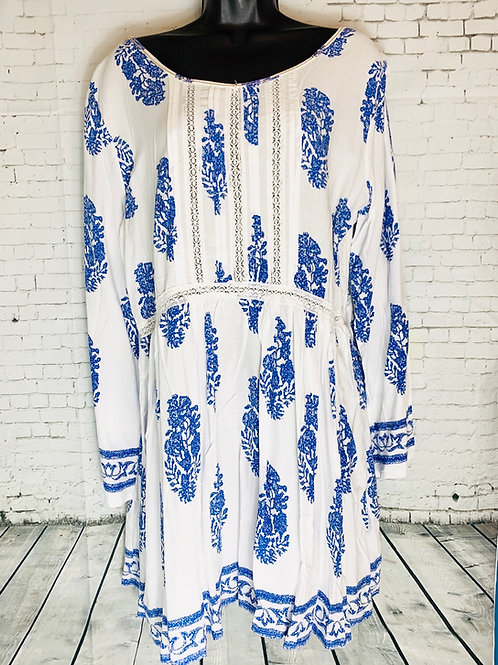 Boho Leaf Print Dress Blue & White