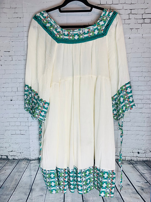 Cream & Emerald Peasant Style Dress