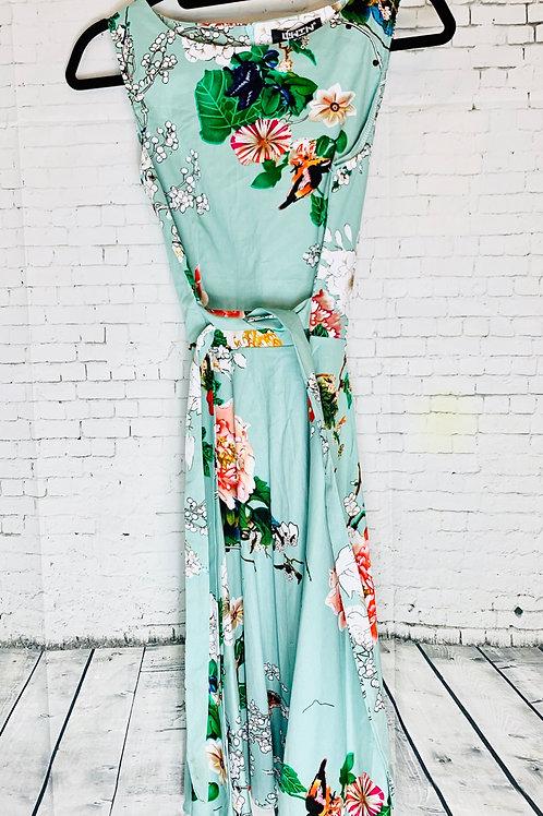 Retro Sage Orient Floral Dress