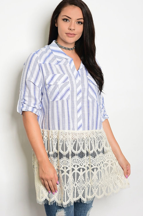 Blue Striped Top with Lace Bottom