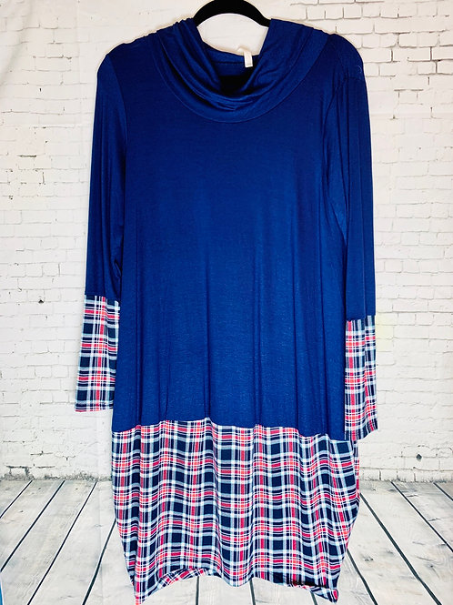 Navy Plaid Dress