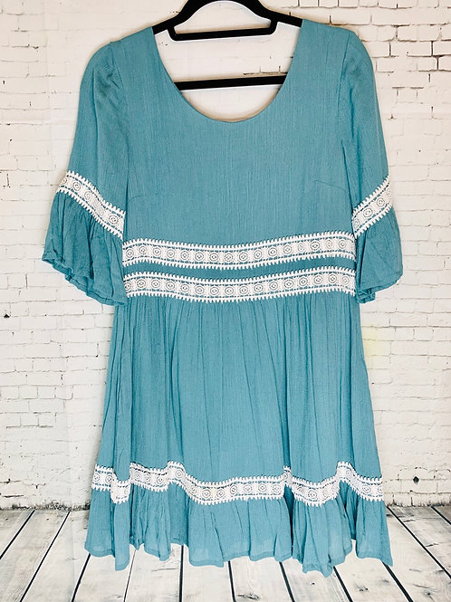 Teal Dress w/ Lace Detail