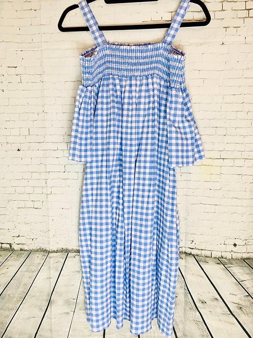 Blue Gingham Off Shoulder Dress