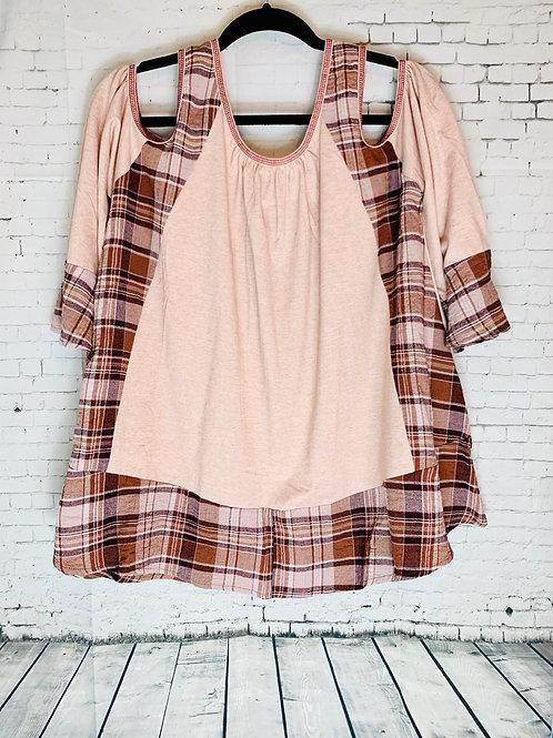 Cold Shoulder Peach/Brown Plaid Top