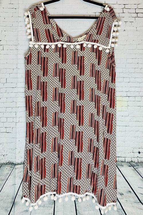 Ivory Rust Dress With Pom-Pom Trim