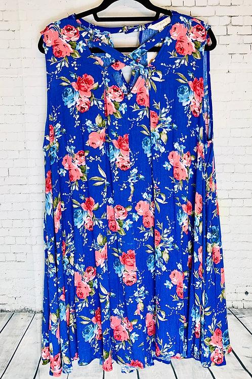 Criss Cross Blue Floral Dress