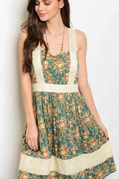 Green Rust Floral Dress