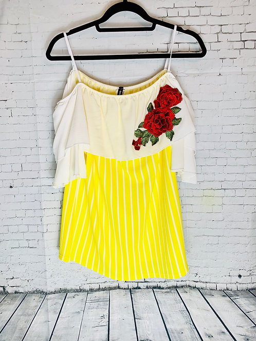 Ivory Yellow Off-Shoulder Embroidered Plus Size Shirt
