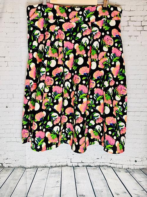 Black Pink Floral Skirt
