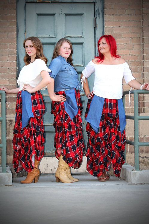 Red Tufted Plaid Skirt