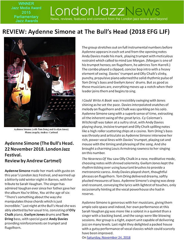 REVIEW - LONDONJAZZNEWS - EFG LJF - 24NO