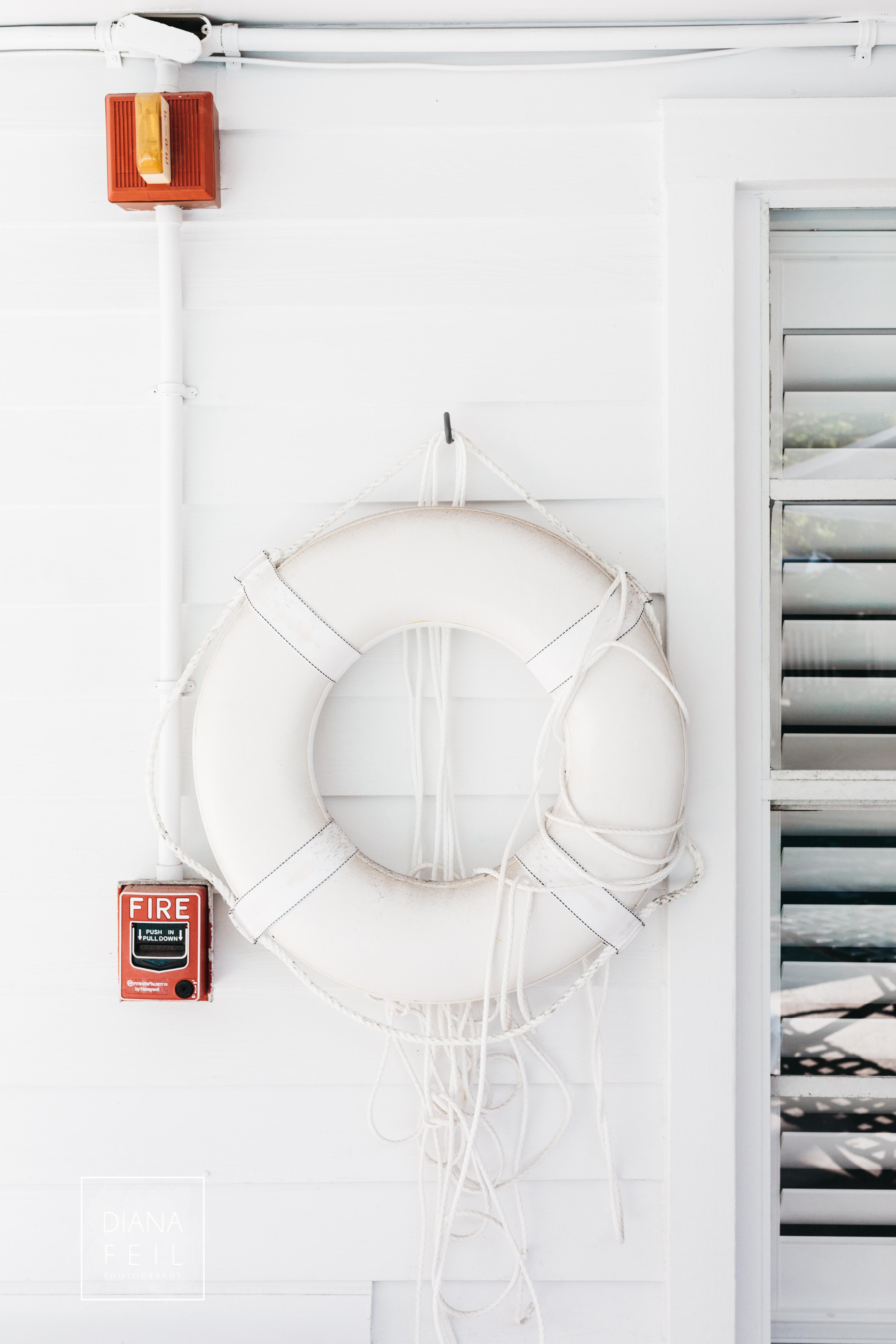 life belt vs. fire alarm.