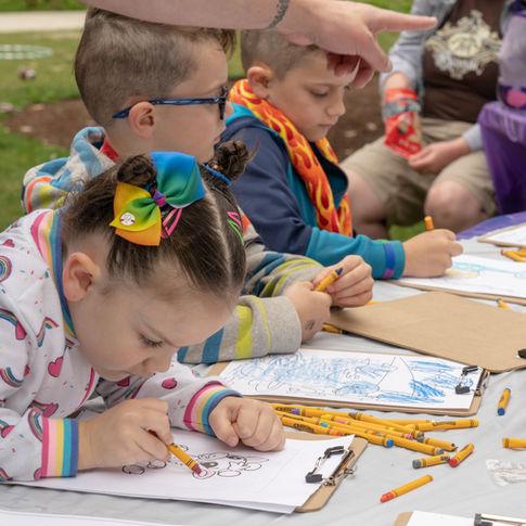 Kids color at Bainbridge Pride Festival