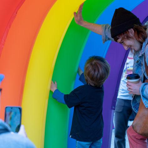 Family under the rainbow