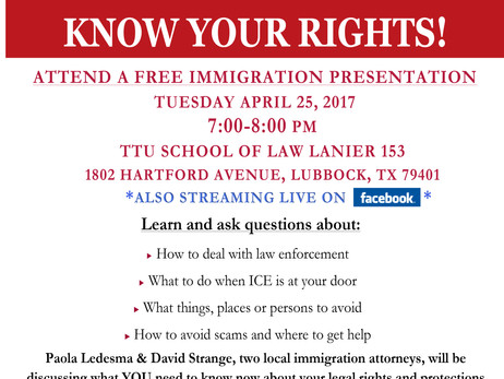 Free Presentation About Immigrant Rights to be Held