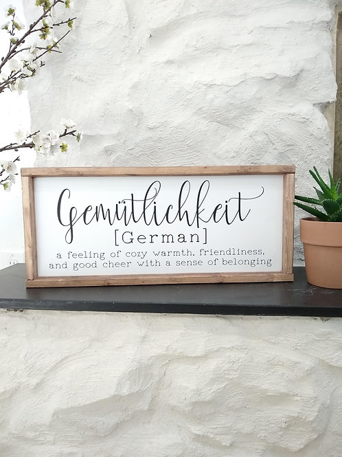 Gemutlichkeit Sign - Cursive & Pronunciation