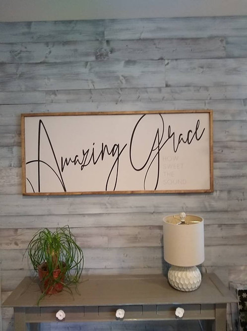 Amazing Grace Large Wood Sign