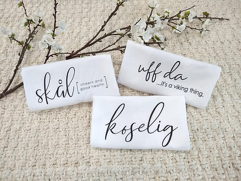 Norwegian Tea Towels (Set of 3) : Uff Da, Koselig, Skal