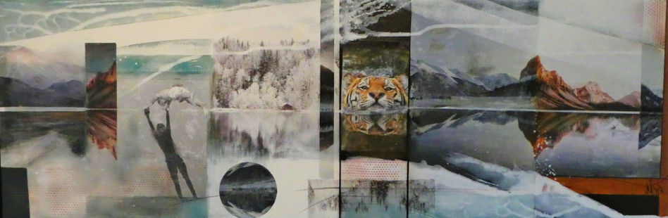 """reflections 1"", 2019, 50x150,mixed media mit rahmen"