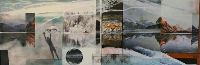 """""""reflections 1"""", 2019, 50x150,mixed media mit rahmen"""