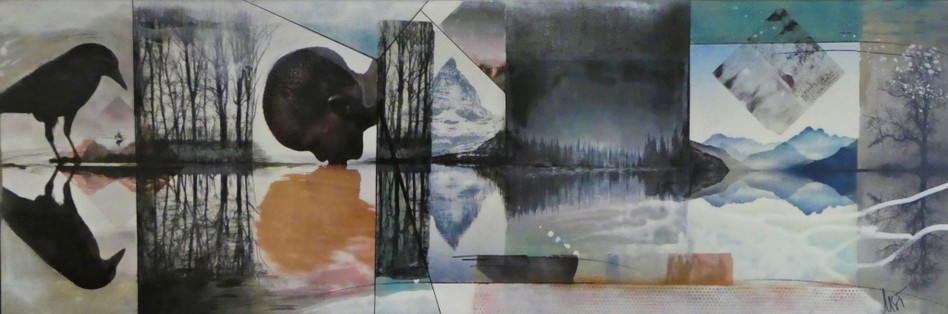""" reflection 2"", 2019, 50x150, mixed media auf leinwand mit rahmen"