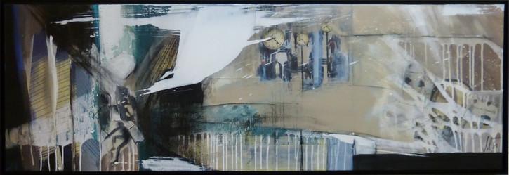 """ nine-eleven"",50x150, 2014, acrylcollage mit rahmen"