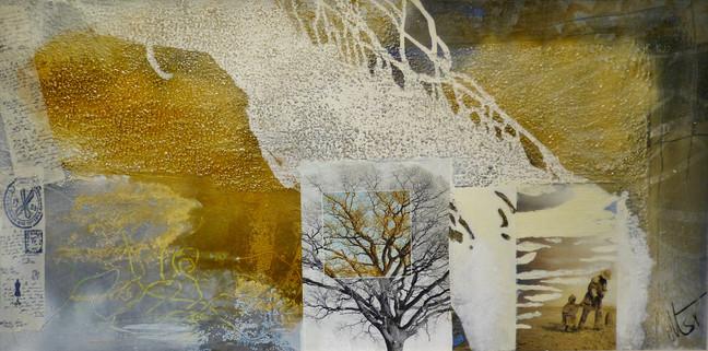 """"""" highlands"""",40x100,2014, collage auf leinwand mit rahmen"""