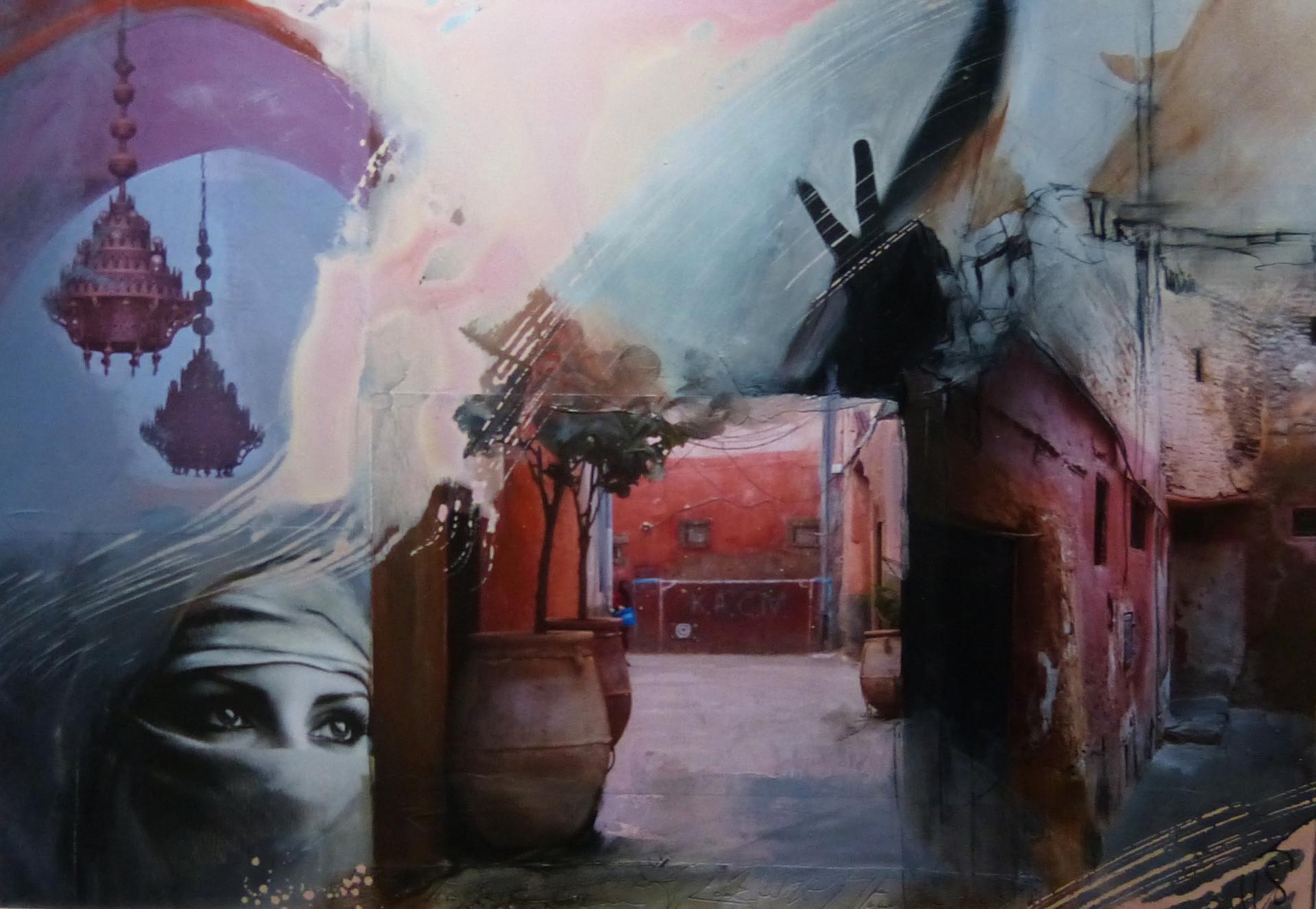 """"""" marrakesch II"""", 70x100, 2014, fotocollage mit rahmen"""