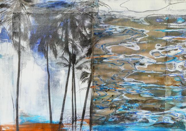 """"""" beach"""", 2017,50x70, mixed media"""