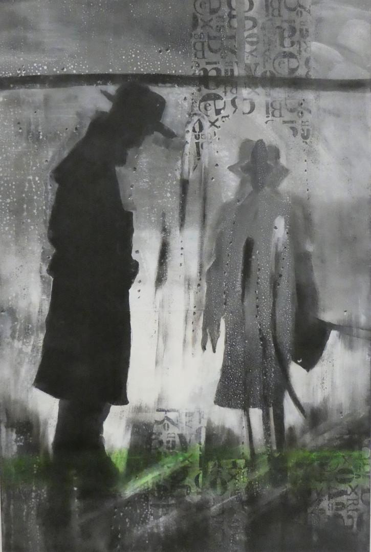 """"""" meetings """", 50x70, 2019, acrylmalerei auf leinwand"""