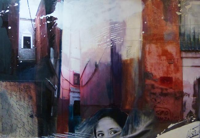 """"""" marrakesch I"""", 70x100, 2014, fotocollage mit rahmen"""