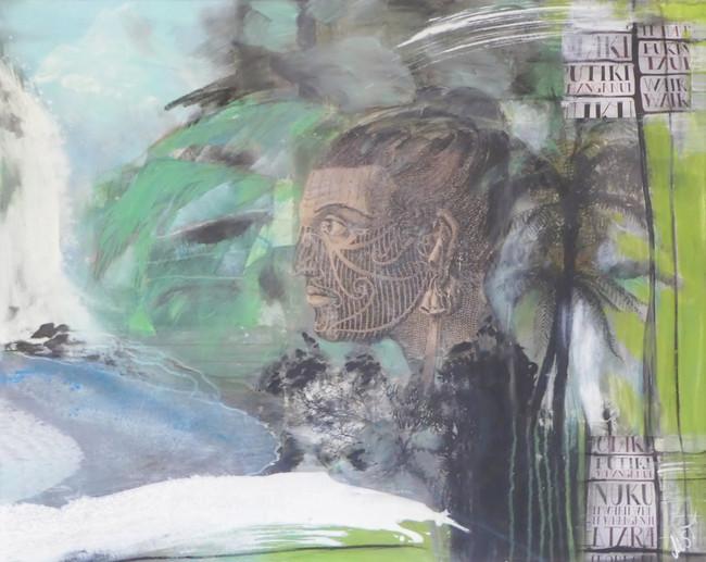 """ maori"",2017,84x104, mixed media mit rahmen"