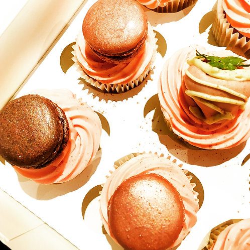 Rose Gold Strawberry and Macaroon Cupcakes