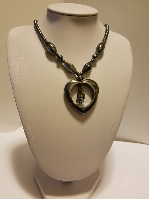 Heart Shaped Hematite Necklace