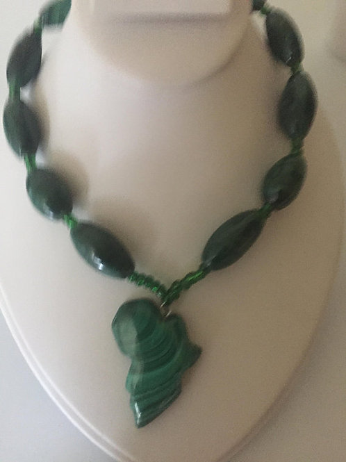 African Shaped Malachite Necklace