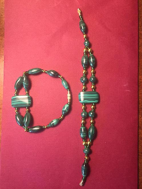 Malachite Double String Bead Bracelet
