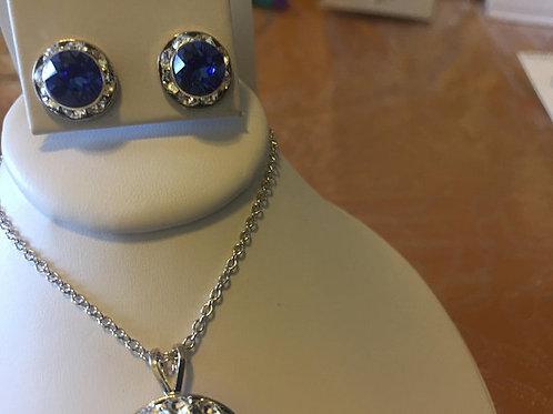 Sapphire Necklace Earrings Set