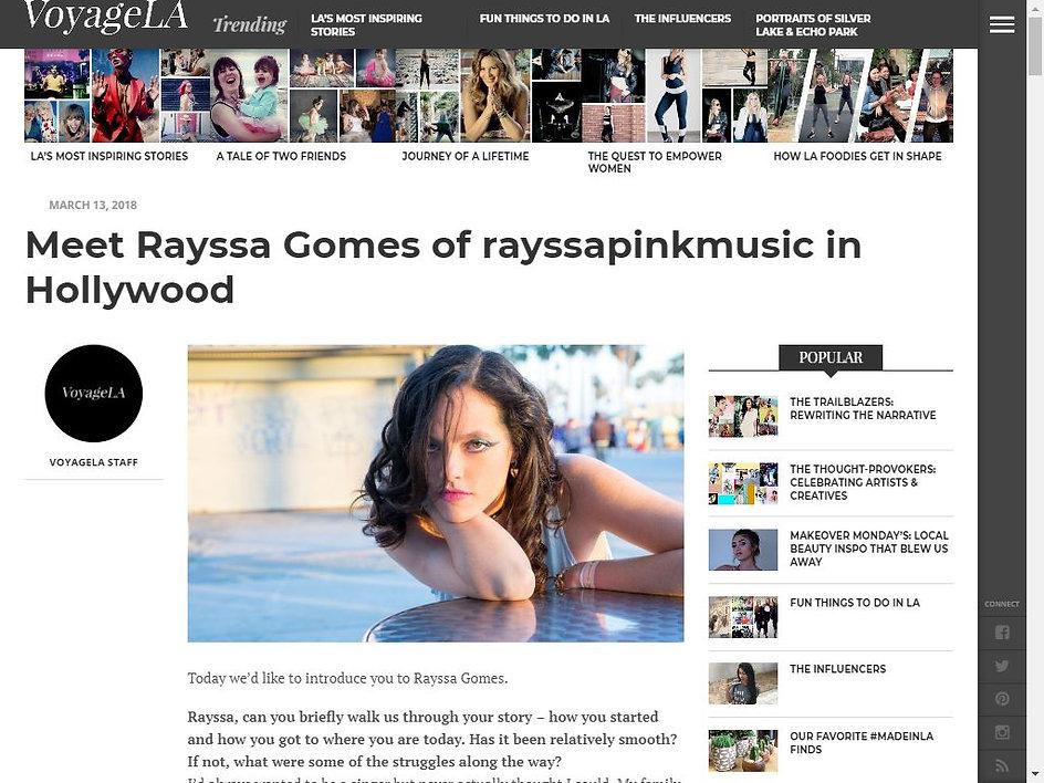Rayssa on Voyage LA magazine Rayssa music singer artist musician rayssamusic rayssapinkmusic rayssa gomes