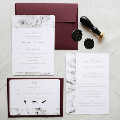 A contemporary and urban marble wedding collection, features beautiful marble and vellum details.  A truly memorable and personal way to set the tone to your guests for that all important day.  Create your perfect wedding suite by adding a modern vellum wrap to hold your cards in place and wax seals to add the finishing touch.  Teamed here with a striking scarlet envelope, a moder vellum wrap and glossy black wax seal, it would be perfect for a wedding with an edge.  Other envelope and wax seal colours are available, please get in touch for more details.