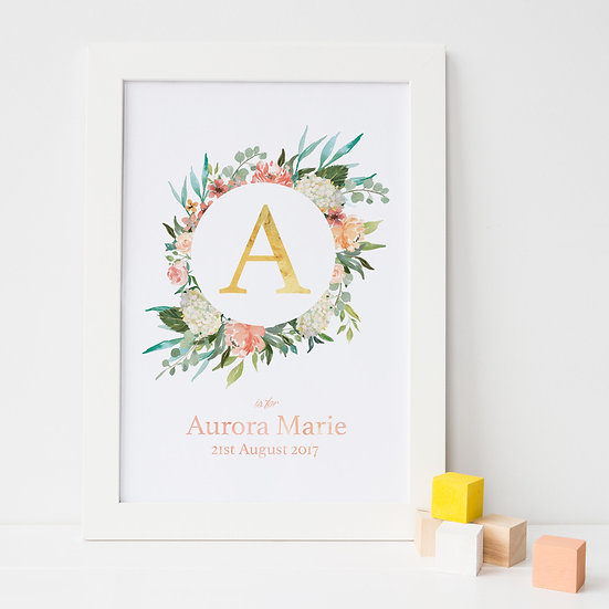 Personalised Floral Gold Foil Initial Nursery Print