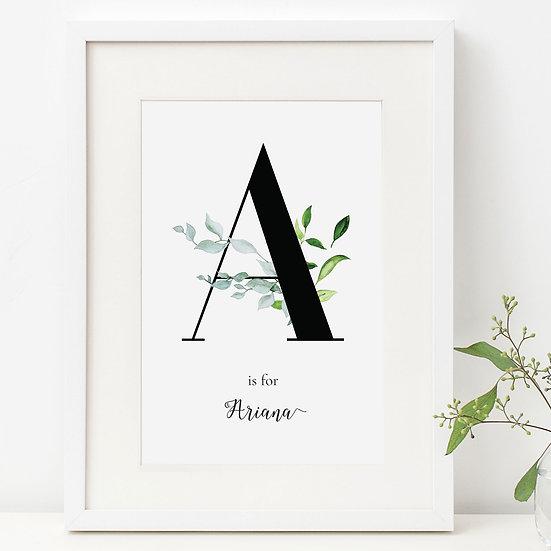 Personalised Lush Foliage Neutral Initial Nursery Print