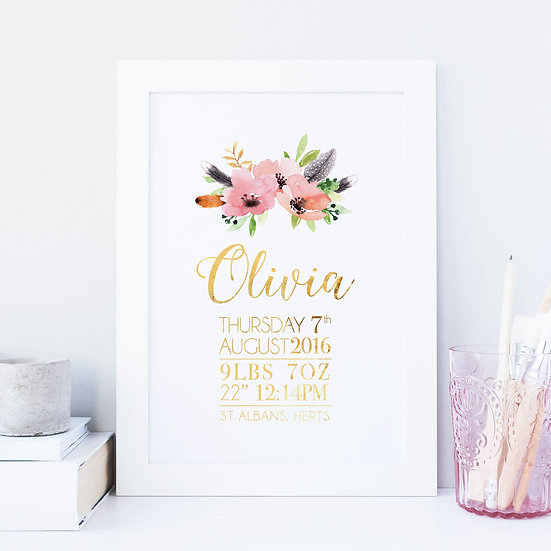 Personalised Boho Floral And Gold Foil New Baby Print