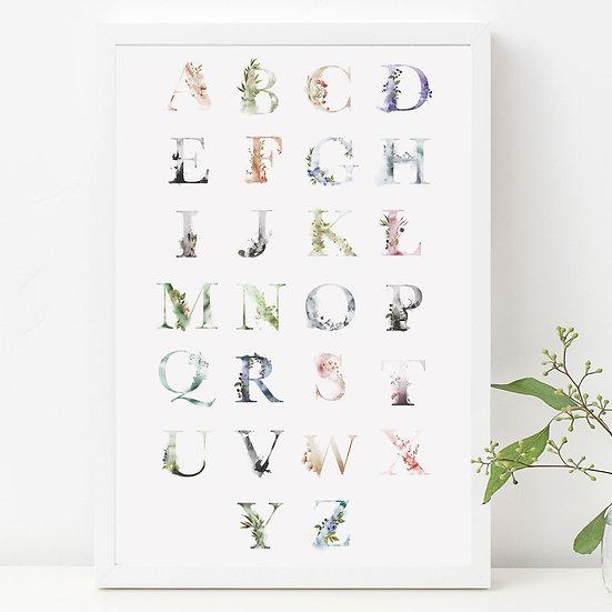 Ethereal Woodland Alphabet Nursery Print