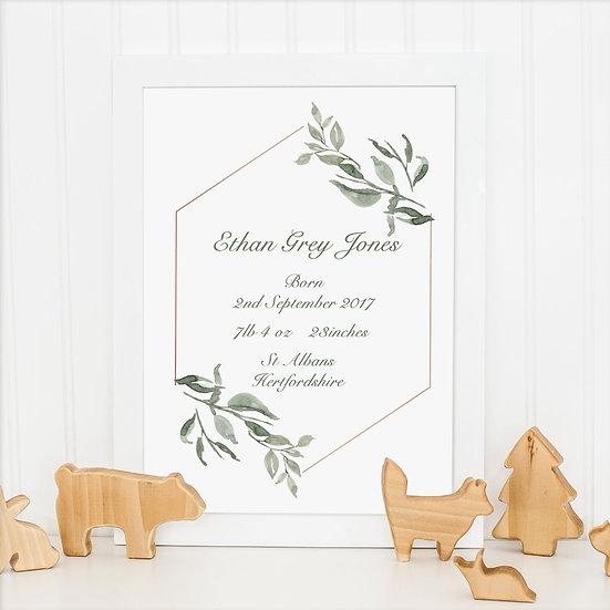 Personalised Foliage New Baby Gift Nursery Print