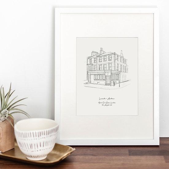 Engagement Venue Illustration Print