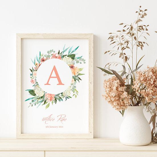Personalised Floral Wreath Initial Nursery Print