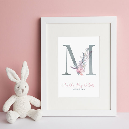 Personalised Floral Grey Alphabet Nursery Print