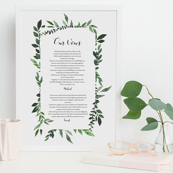 Personalised Vows Reading Poem Wedding Anniversary Print
